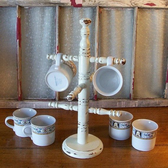 Vintage shabby chic coffee cup rack french country mug for Coffee rack diy