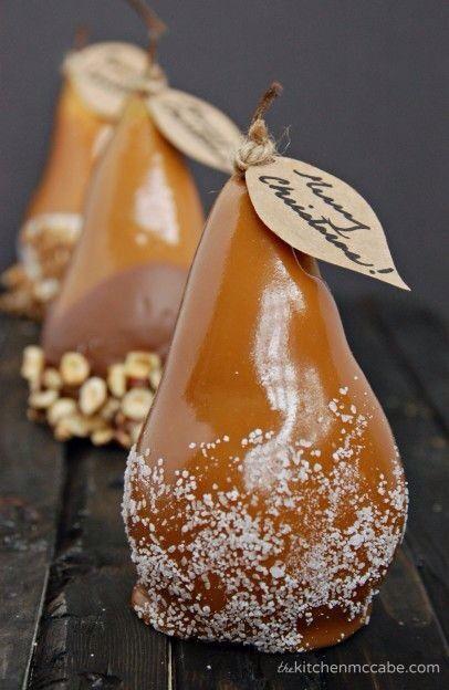 Caramel dipped pears.