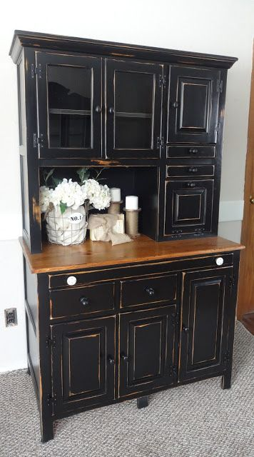 Pine Hutch, dark paint, distressed edges
