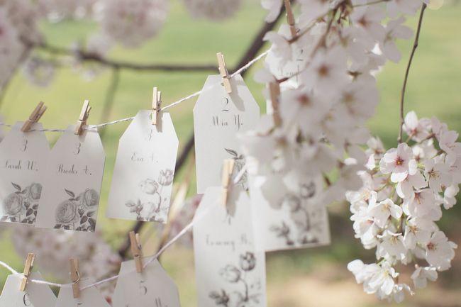 Botanical Bloom Wedding Inspiration   Cherry Blossom escort card tags as seen on @Ruffled