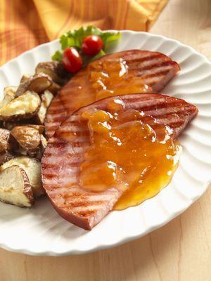 Peach Glazed Ham Steak - Paul Poplis/StockFood Creative/Getty Images