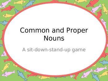 This PowerPoint presentation is to be used as a whole class game to review the concept of common nouns and proper nouns.The file is editable so t...