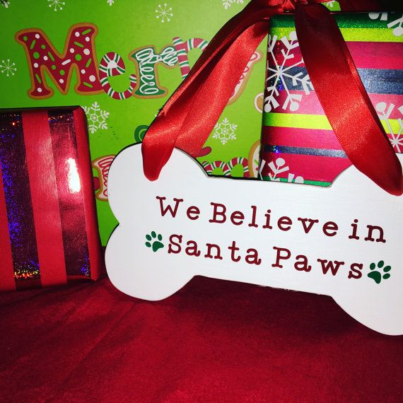 Meery Christmas Sign Merry Santa Paws Dog Christmas by FromAtoG