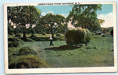 Farmers Bailing Hay Greetings from Monroe NY New York Vintage Postcard B25