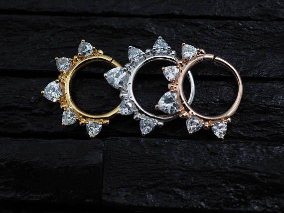 Amour coeur CZ diamant ouvert Daith boucle doreille /