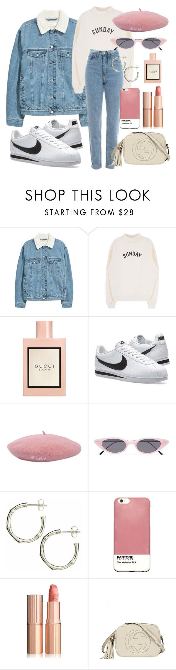 """""""Untitled #95"""" by littlevanss ❤ liked on Polyvore featuring Gucci, WALL, NIKE, Illesteva, Dinny Hall, Case Scenario and pastelsweaters"""