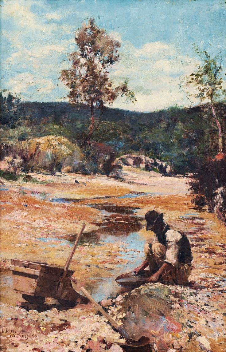 Withers, Walter, (1854-1914), Panning for Gold, 1893, Oil