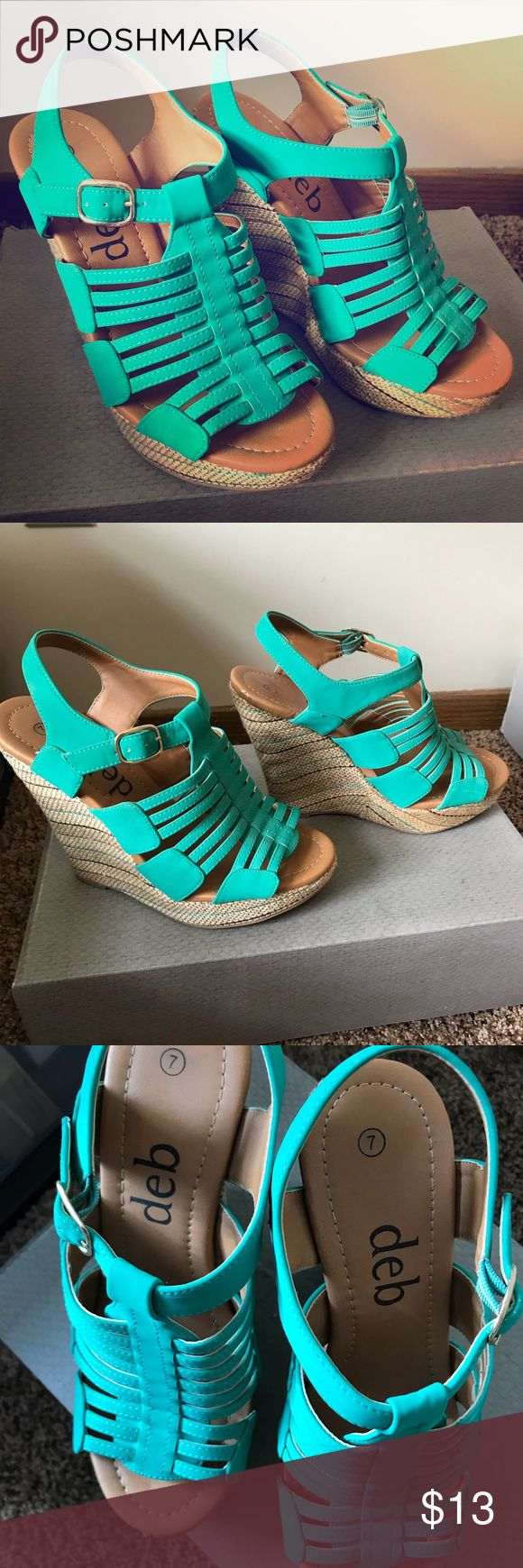 Wedges Like new!! Never worn!!! Teal Wedges. So comfortable. Deb Shoes Wedges