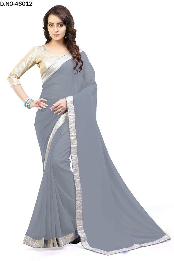Indian Women Designer Simple Saree Fabric Georgette Party wear Sari Blouse   eBay