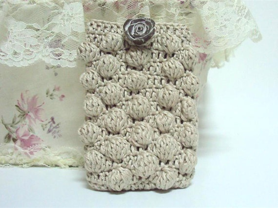 Beige brown Crocheted Cell Phone Cover with Ceramic by etty2504, $17.00
