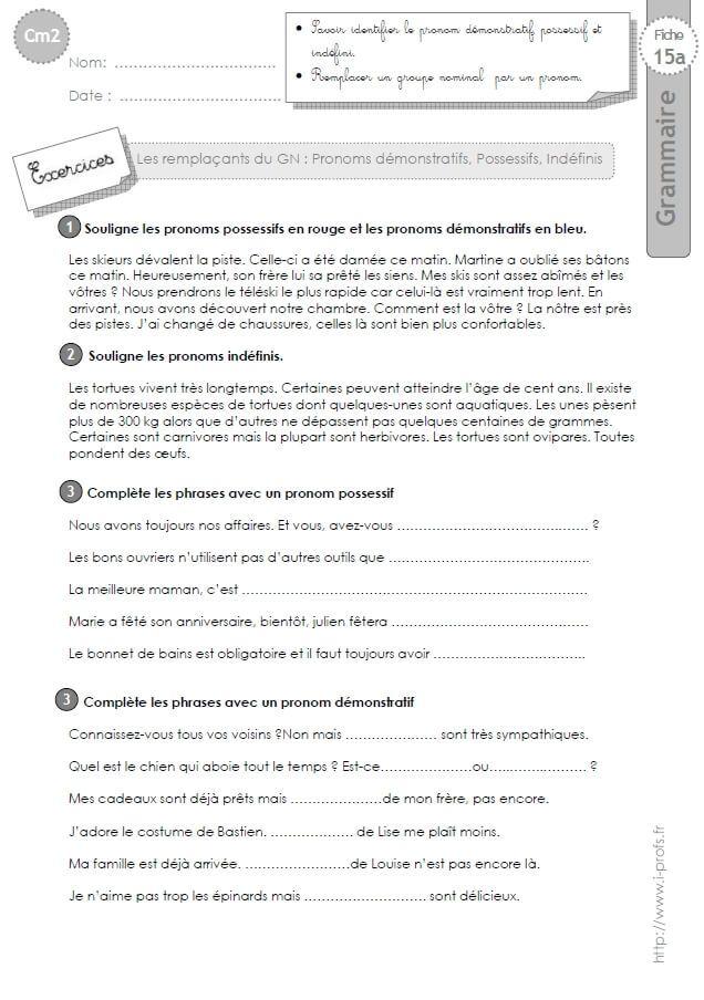 Cm2 Exercices Les Pronoms Demonstratifs Possessifs Et