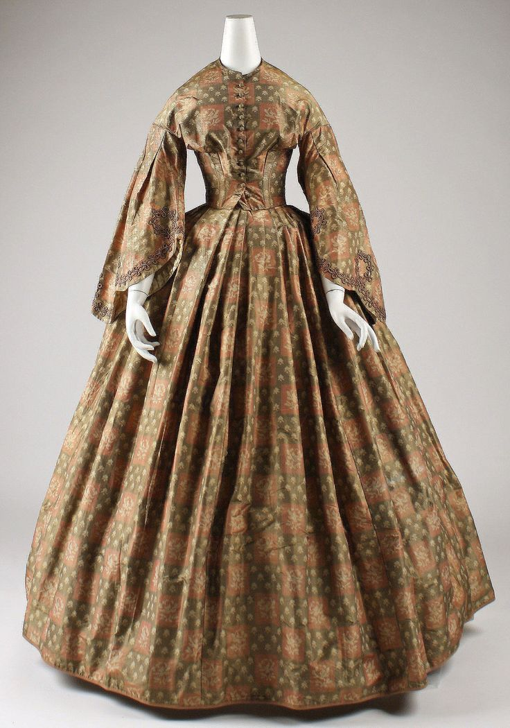 Dress: ca. 1860-1863, American, silk.