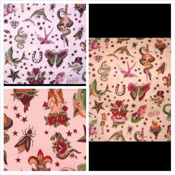 ALEXANDER HENRY tattoo pink cotton fabric - 1 yard on Etsy, $13.50