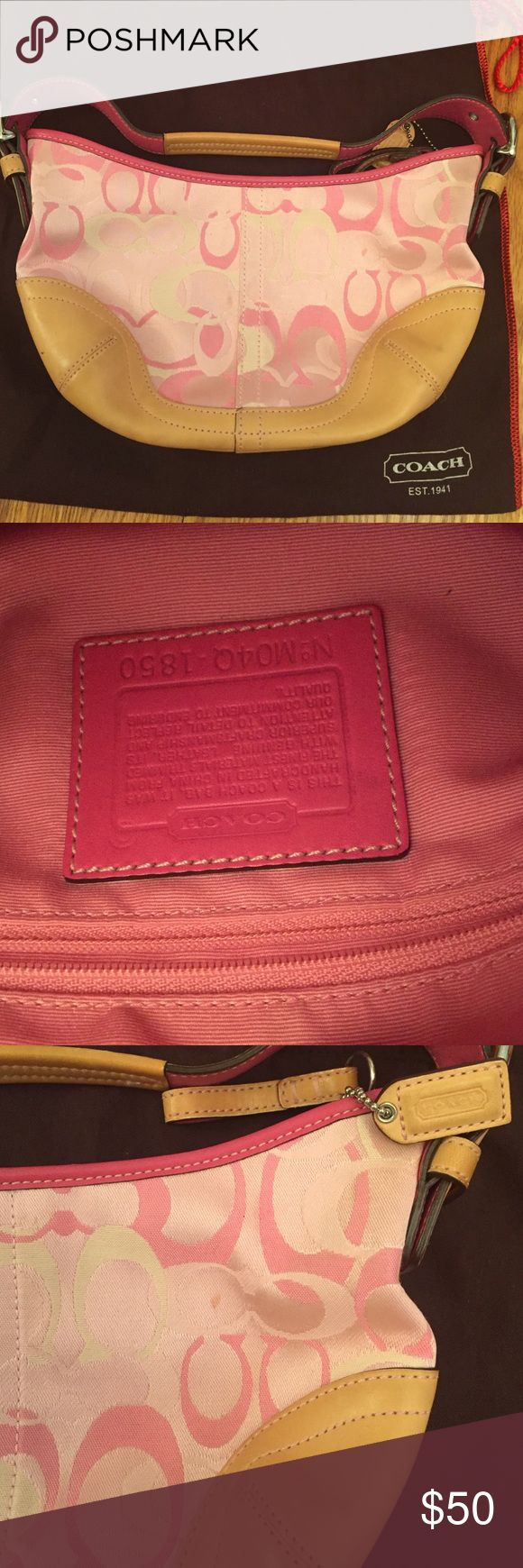 """Pink Coach purse Gently used Pink Small Coach purse. White, light pink and dark pink """"C""""s. Comes with original coach bag. Only used a few times and has never been washed, has a few small marks on it that may come out if cleaned. Otherwise looks brand new and has been kept away. Coach Bags Mini Bags"""