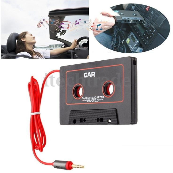 Car Audio Systems Car Stereo Cassette Tape Adapter for Mobile Phone MP3 AUX CD Player 3.5mm Jack for Car Truck Van (Color: Black