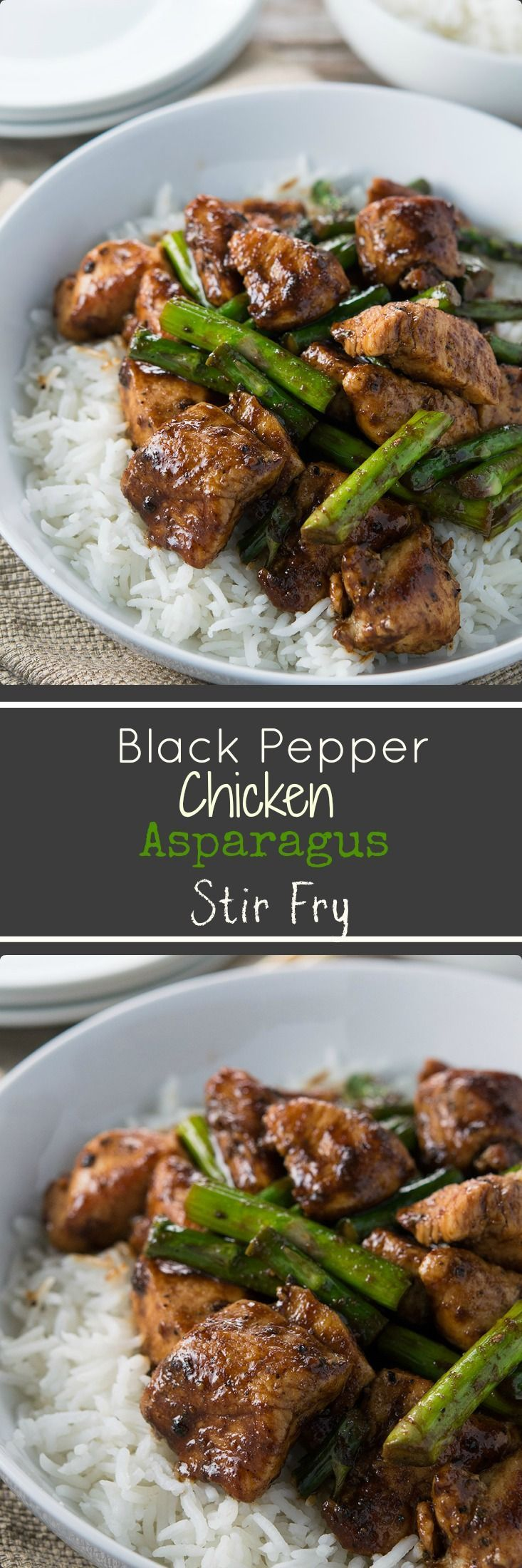 This quick black peppered chicken and asparagus stir fry gets all of it's flavor from leftover homemade black pepper sauce I use for my Crispy Black Peppered Chicken Wings.