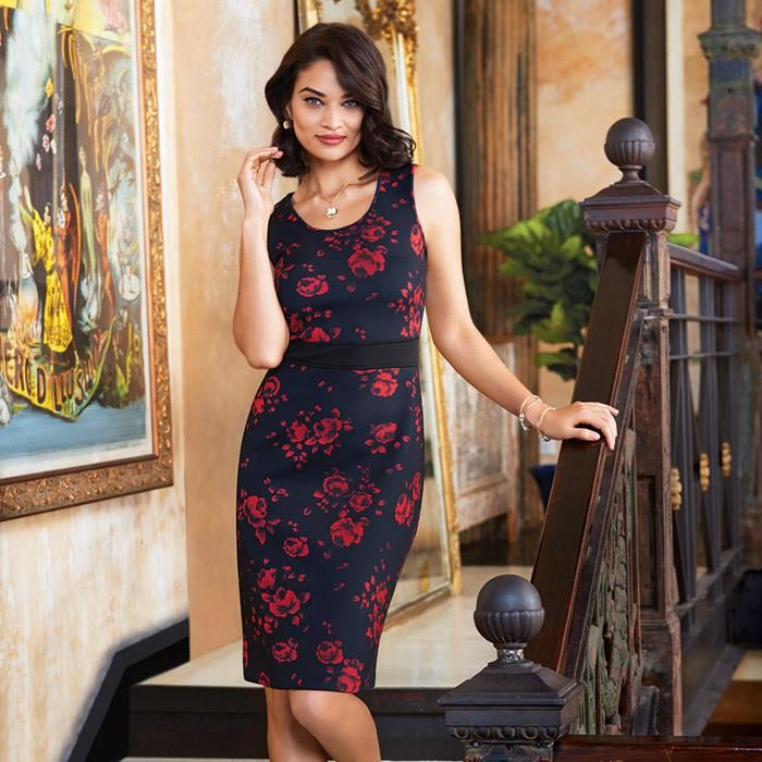 Bold and Beautiful Rose Print Dress. Figure-friendly floral, you'll look good from every angle in the ultra-smoothing scuba fabric that defines curves without clinging.