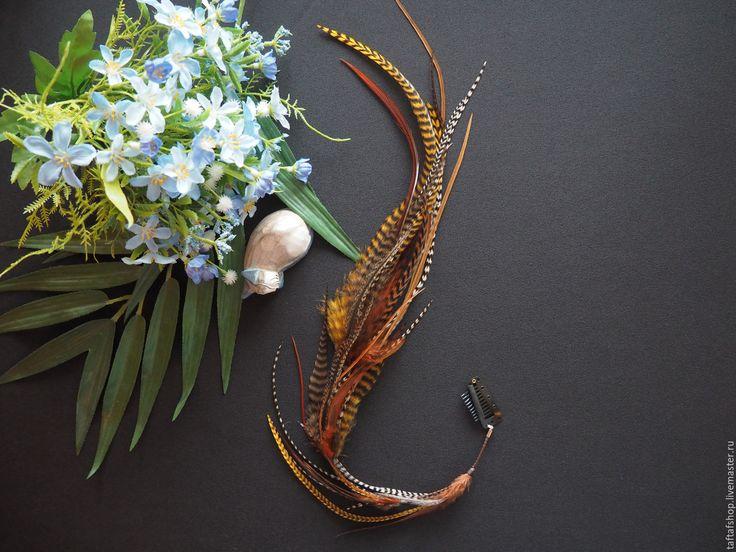 Таинственная лиса - коричневые перья для волос на съемной заколке - полосатый, перо, перья