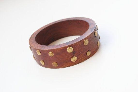 Wood and Brass Bracelet Brass Bangle Vintage Wood by SoulSisters16