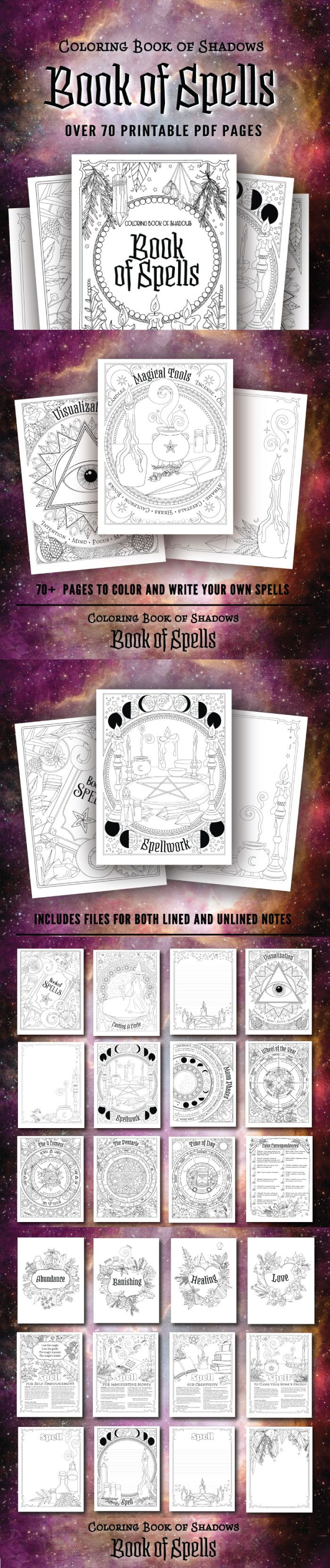 Coloring Book Of Shadows Book Of Spells Printable Pdf