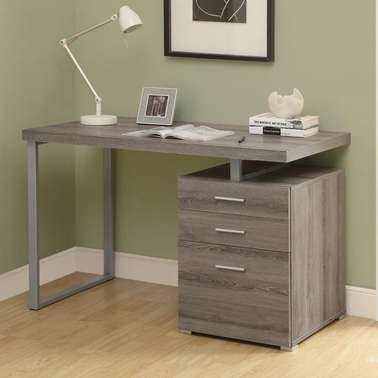Exquisite Beige Finish Cherry Corner Desk With Grey Polished Steel Legs Be Equipped Double Drawers And Filing Cabinet Using Steel Pull Handles For Easy Opening, Charmingly Computer Desk With Inexpensive Price For Your Home Office : Furniture, Interior, Office