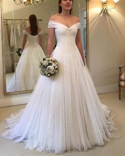 Elegant Pleated Tulle V-neck Off Shoulder Princess Wedding Dresses 2019 53c2c79a4e5f