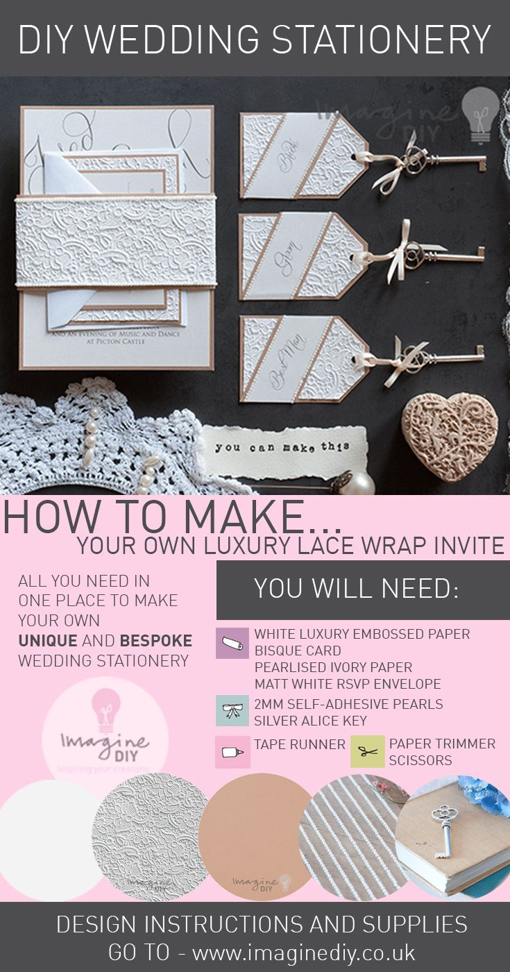 Best 25 diy wedding stationery supplies uk ideas on pinterest how to make lace embossed stationery diy wedding junglespirit Images