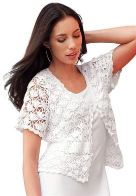 Plus Size Shrug Cardigan in Crochet   Plus Size Shrugs   Jessica London
