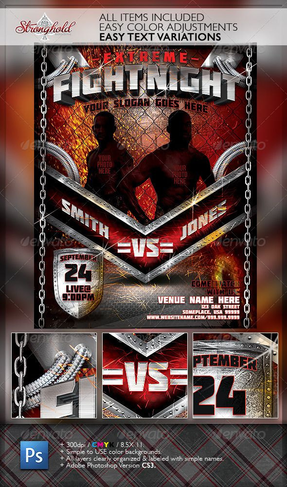 extreme fight night flyer template vintage flyers pinterest