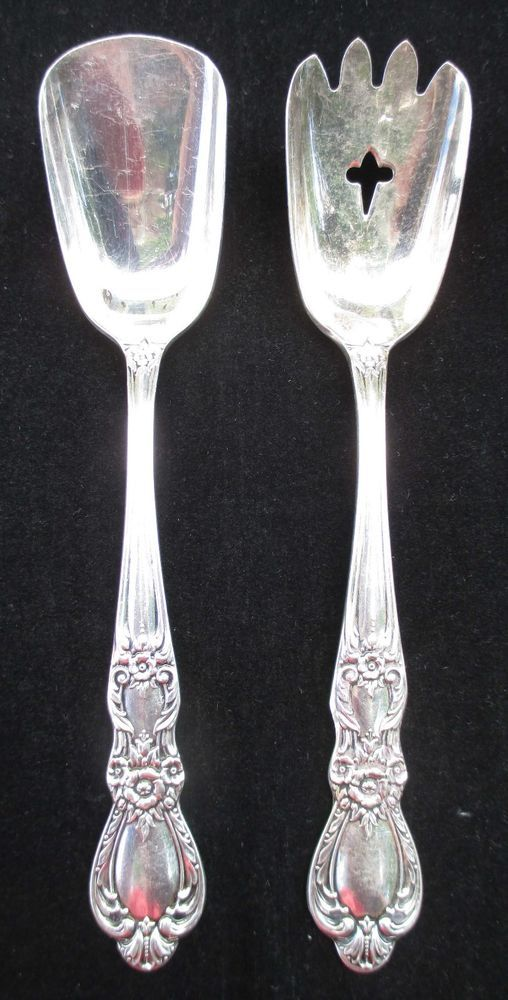Lot Of 2 1847 Rogers Bros Silverplate Heritage Pattern