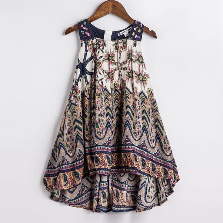 Autumn Brown Bohemian Girls Flowy Dress