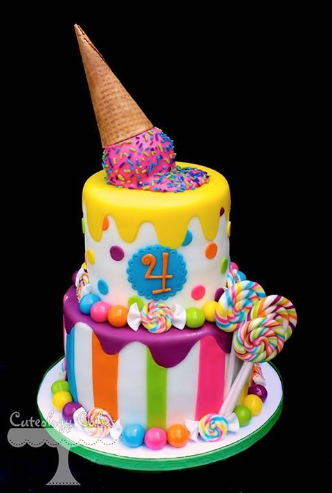 Birthday cake for a child ... circus theme .. luv the spilt ice cream cone on top ,..