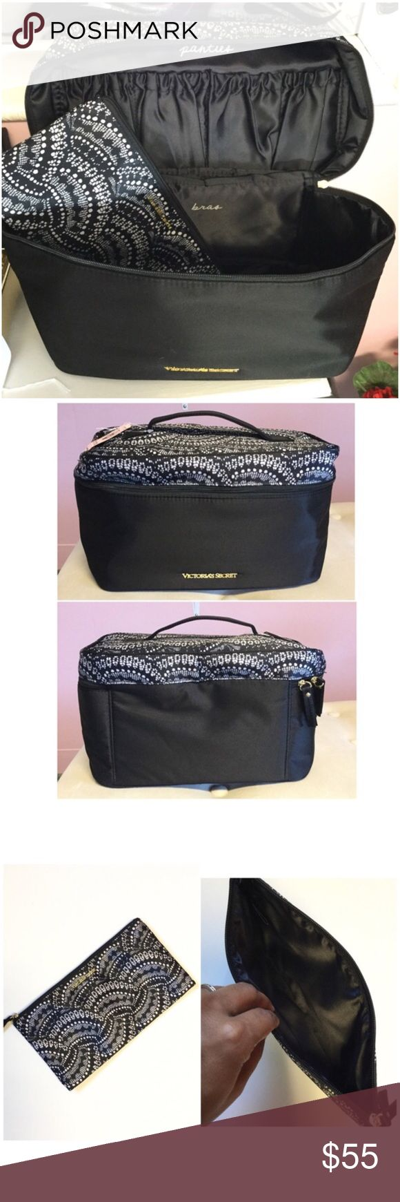 """Victoria's Secret Train Case Set Brand new with tag. Two in one. Approx 11x7x6"""". Lots of room for your intimates and essentials. Victoria's Secret Bags Cosmetic Bags & Cases"""