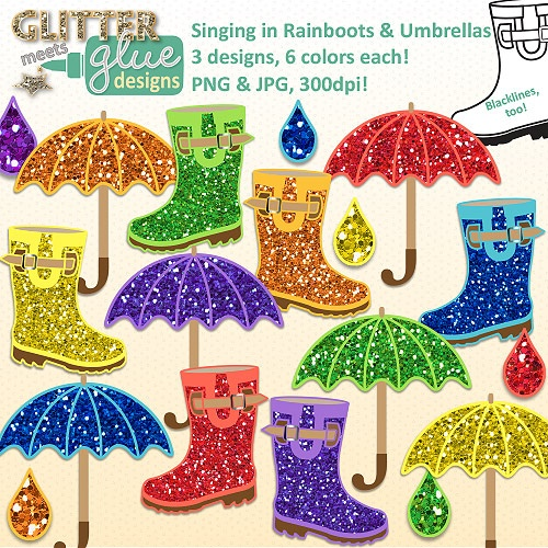 Singing in Rainboots & Umbrellas Clipart: Spring April Glitter Fun! 42 Pics! #tpt #april #umbrella