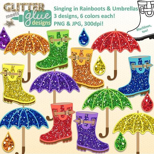 Singing in Rainboots & Umbrellas Clipart: Spring April Glitter Fun! 42 Pics! #tpt #april #umbrella