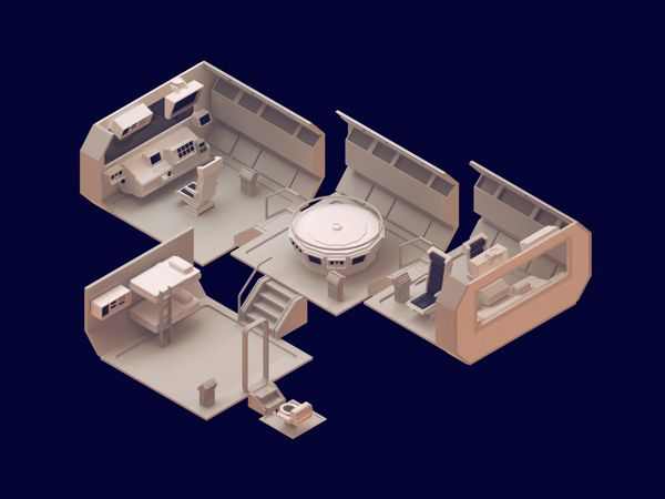 '30 isometric renders in 30 days' Round 1 by Michiel van den Berg, via Behance