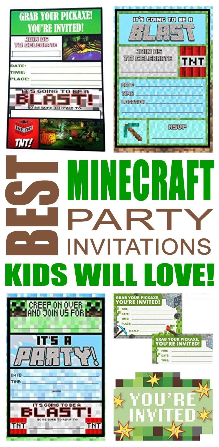 Minecraft party invitations great for girls, boys, teens, tweens & adults. Find cool and fun Minecraft party invite ideas for your celebration. Awesome & cool designs! You can also do a DIY, Printable or template invites that are sometimes free. These are fun and a perfect fit for a any Minecraft party.
