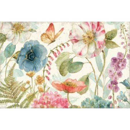 Rainbow Seeds Flowers I on Wood Cream Canvas Art - Audit Lisa (12 x 18)