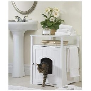 Nightstand or washroom stand litterbox hider