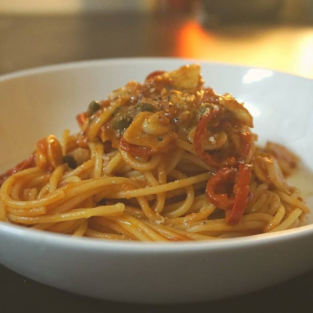 Daily Pasta. This might be called puttanesca or arrabiata....i dont know i just i wanted to cook pasta with ingredients in refrigerater.  Simple and delicious  #redchili #caper #garlic  #lemonjuice  #anchovy #driedherbs #earlydinner #firstmeal #첫끼 #해장 #pasta #arrabiata #puttanesca #spaghetti #해장파스타 #스파게티 #homecooking  #parmigiano #arbequina #extravirginoliveoil #simple #delicious