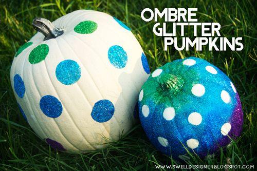 The Swell Life: Ombre Polka Dot Glitter Pumpkins