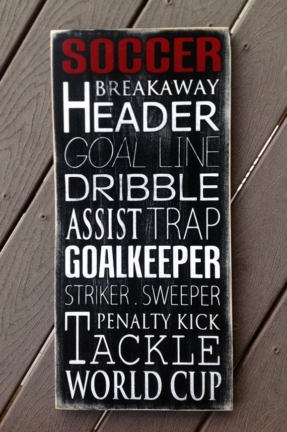 Soccer Typography Art Wood Sign - Subway Art - Childrens/Teen Wall Art on Etsy, $60.00