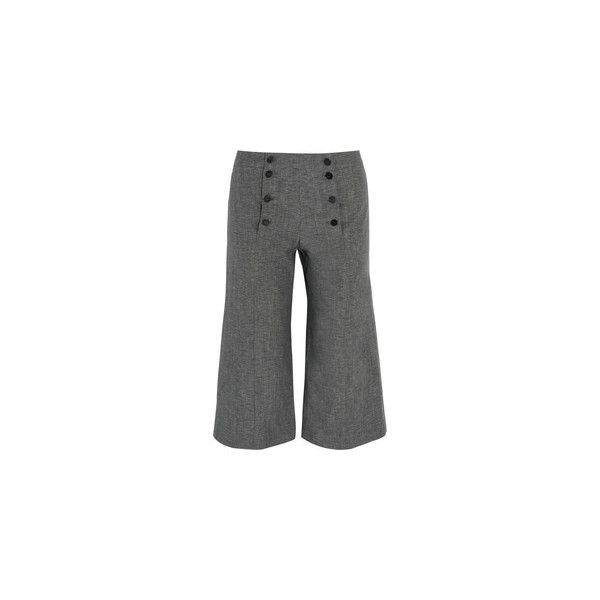 J.W.Anderson Denim culottes (42,455 INR) ❤ liked on Polyvore featuring pants, capris, petite crop pants, denim pants, high-waisted pants, gray pants and high waisted pants