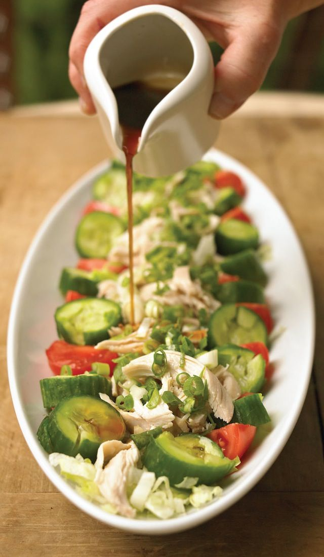 <3 sesame chicken salad with cucumber, tomatoes, and lemon