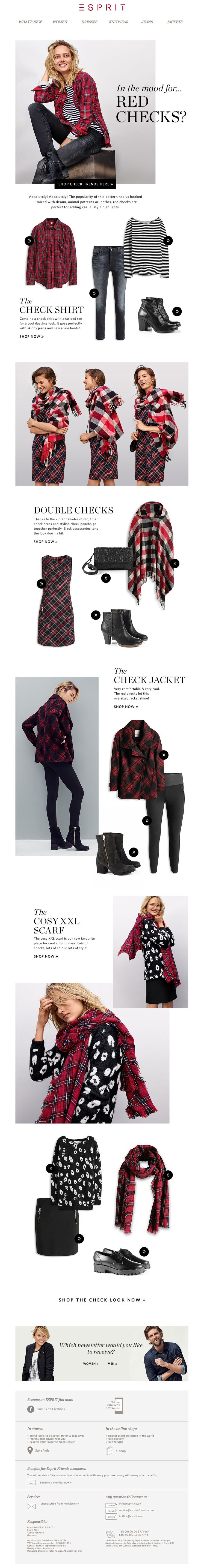 #newsletter Esprit 09.2014 RED CHECKS – Must haves for autumn!