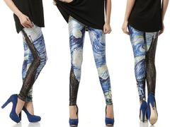 Starry Night Leggings   Online Legging Store leggings,galaxy,black,bones,pink