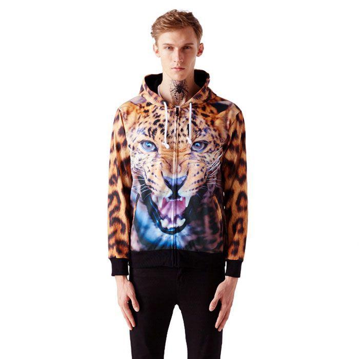 Fashionable 3D Leopard Printing Hooded Coat - Orange + Brown (L)