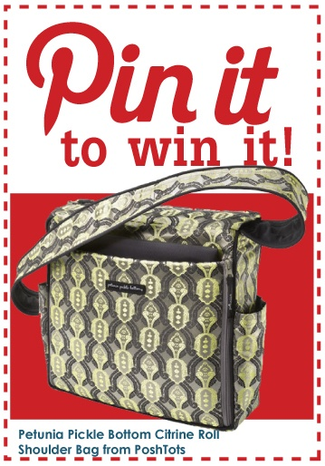 Re-pin this pin of a fabulous Petunia Pickle Bottom shoulder bag, follow @PoshTots' Pinterest page and be entered to win this versatile diaper bag, or cary-all.  One winner will be chosen at random on 4/30/12. Petunia Pickle Bottom Citrine Roll Shoulder Bag from #PoshTots