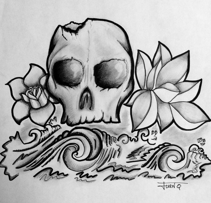Drawing pencil skull, waves & lotus