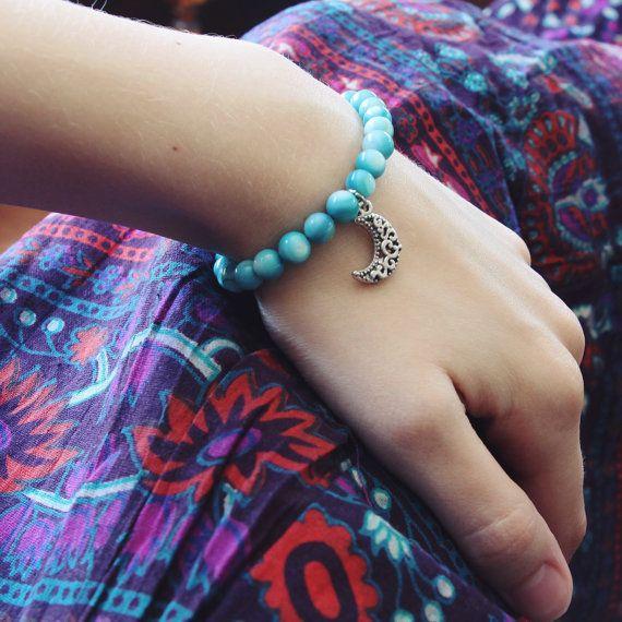 Moon bracelet n°2 from the BRAVE Collection, inspired by an extraordinary voluntary organization called the Love Commandos. // #whateveramoonhasalwaysmeant #moon #bracelet #bracelets #handmade #thebravecollection #jadeolivia #jadeoliviashoppe #brave #lovecommandos #love #truelove #boho #bohemian #gypsy #earthy #jewelry #fashion #style #handmade #etsy #etsyshop #braceletstack #beading #beads #icarryyourheartwithme #eecummings #blue #sky #skyblue